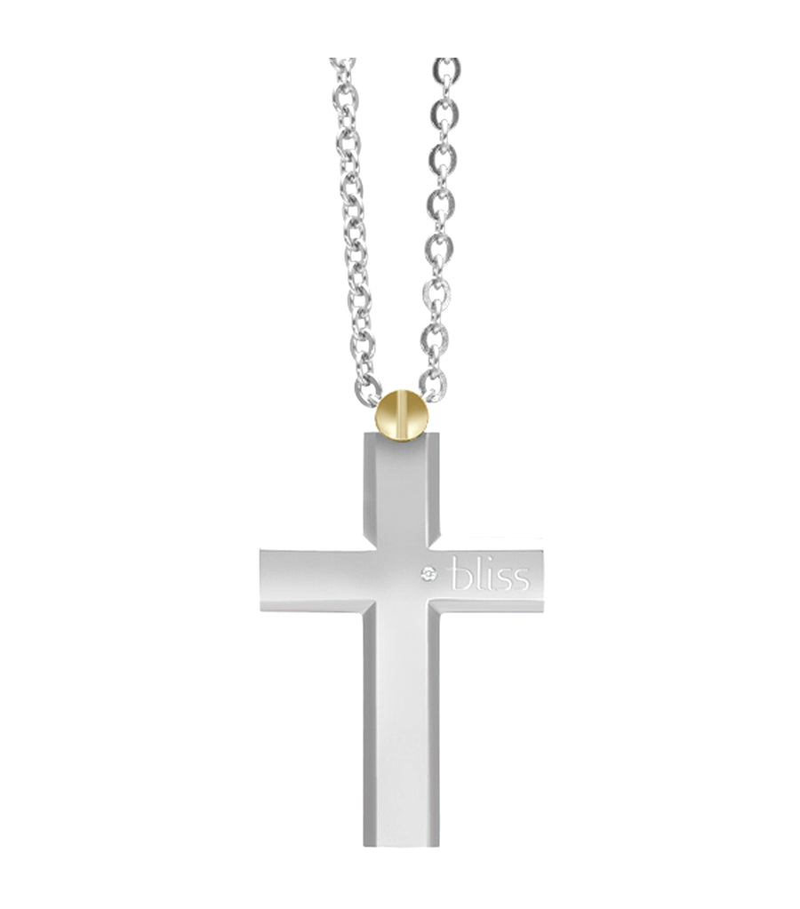 Rider Polished Stainless Steel Cross Pendant Necklace