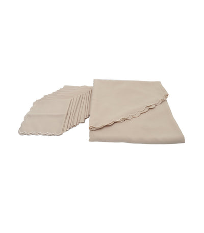 Rustan's Home Scallop Tablecloth Set in Mocha