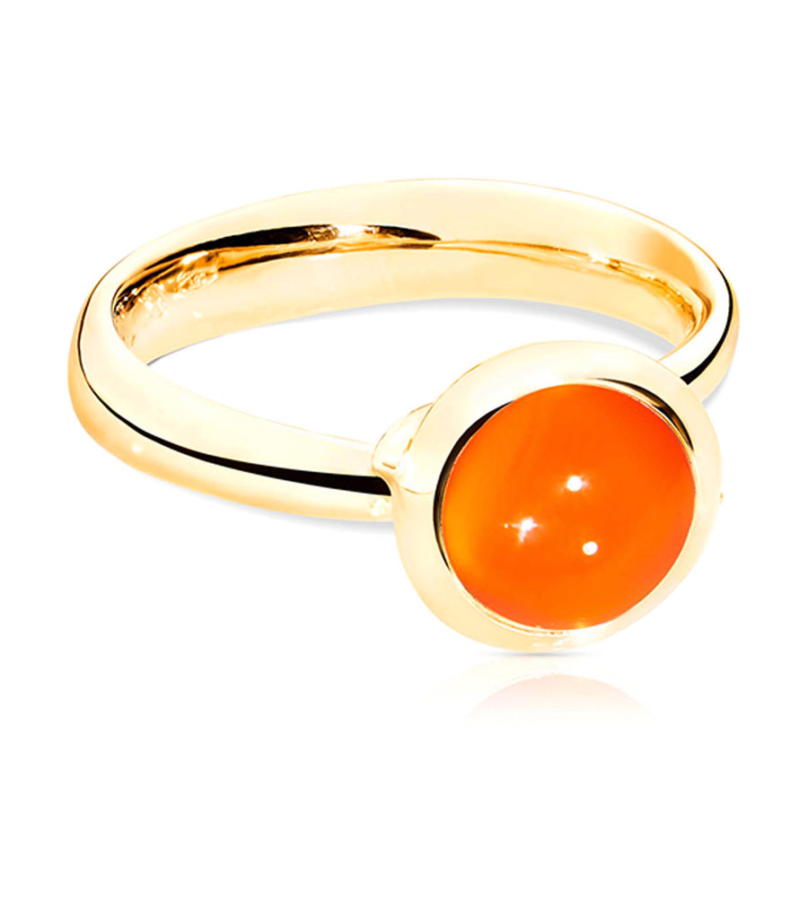 Bouton Ring Small Carnelian in 18K Yellow Gold