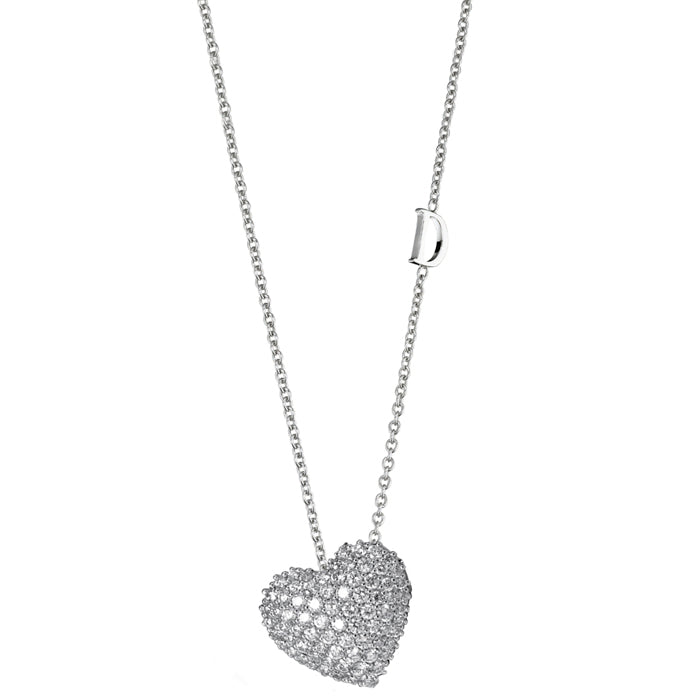 Simboli White Gold Diamond Heart Pendant