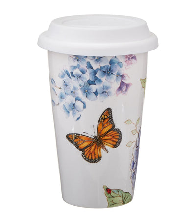 Butterfly Meadow Thermal Travel Mug - Blue