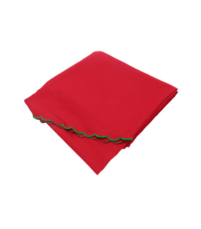 Rustan's Home Lizano Green Scallop Tablecloth Set in Red