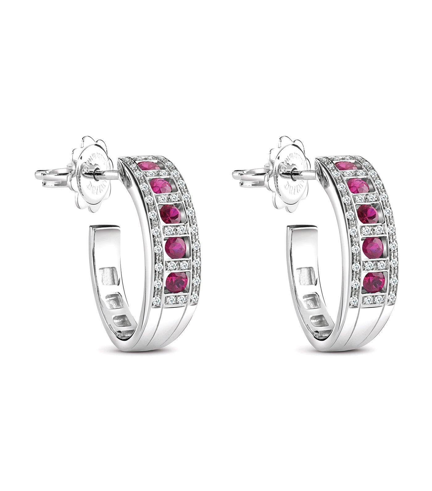 Belle Époque White Gold Diamonds and Rubies Earrings