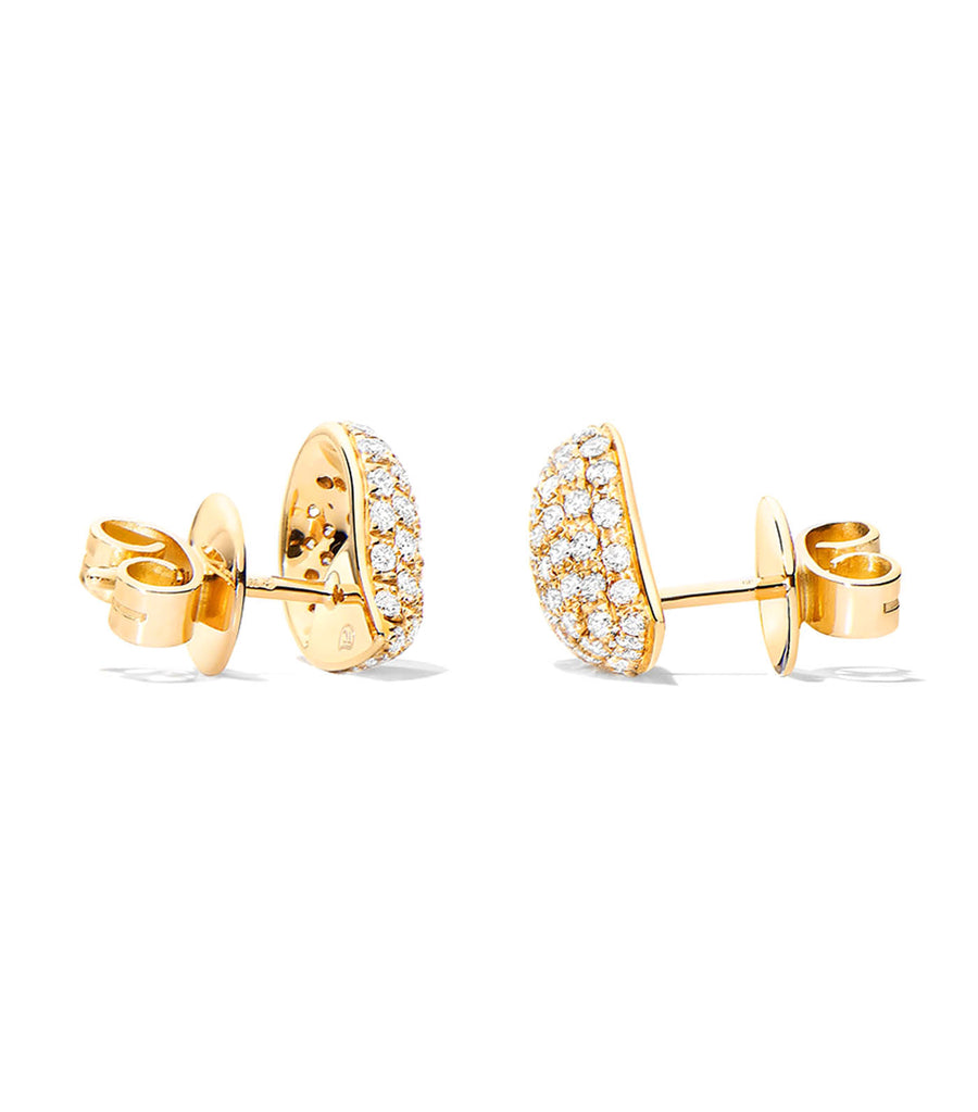 Signature Earrings Small with Diamond Pavé in 18K Yellow Gold