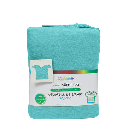 Safdie & Co. Jersey Sheet Set of 4 in Teal