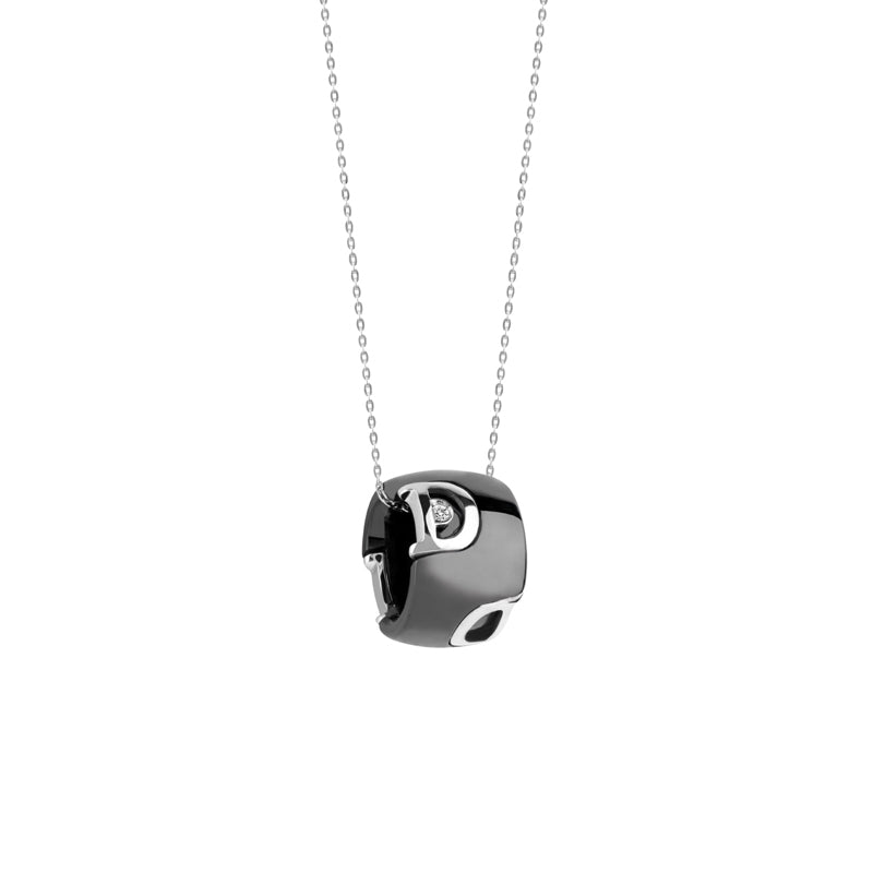 D.Icon Black Ceramic White Gold and Diamond Necklace