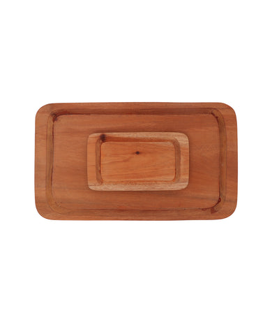 Rustan's Filipiniana Our Very Own Natural Mahogany Rectangle Serving Tray