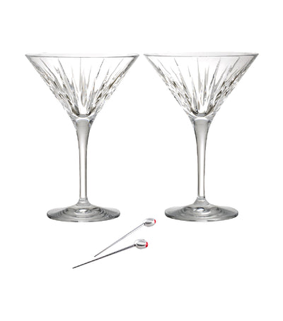 Reed & Barton Soho Martini Glass Set of 2 with Olive Picks