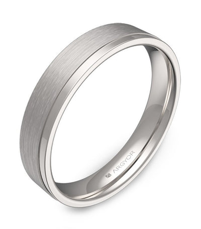argyor wedding band with grooves 4.0mm white gold combined