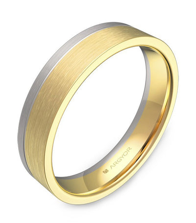 argyor ribbon band with grooves 4.5mm two-tone yellow gold and white gold brushed