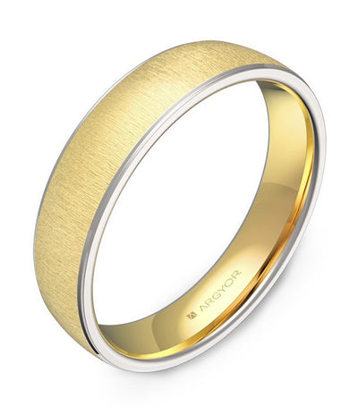 argyor triangle wedding band 4.5mm two-tone yellow gold and white gold