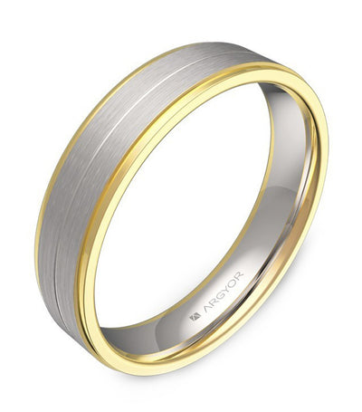 argyor ribbon band with grooves and bevels 4.5mm two-tone gold
