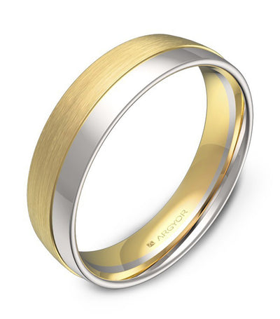 argyor alliance half-ring with grooves 5.0mm two-tone gold