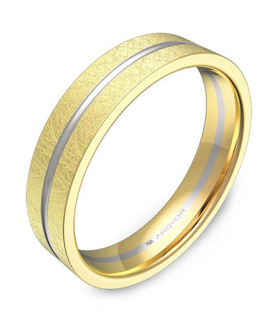 argyor ribbon band with grooves 4.5mm two-tone yellow gold and white gold ice cream