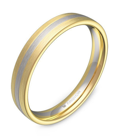 argyor wedding band with grooves 3.5mm two-tone yellow gold and white gold