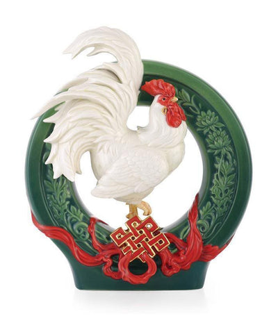 franz collection money rolling in rooster figurine