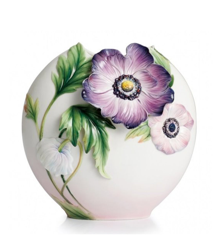 franz collection anemones design sculptured porcelain mid size vase