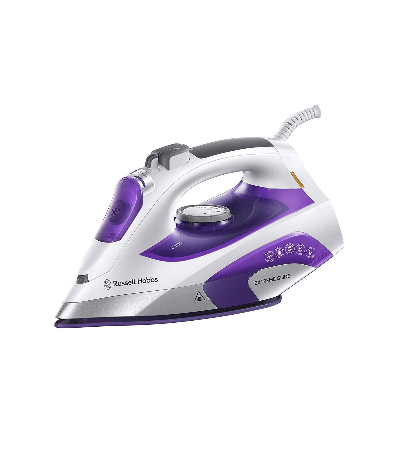 Russell Hobbs Extreme Glide Steam Traveller Iron|2400W|Self Clean|White /& Purple