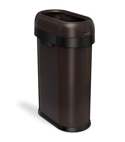 Simple Human 50L Slim Open Trashcan - Dark Bronze