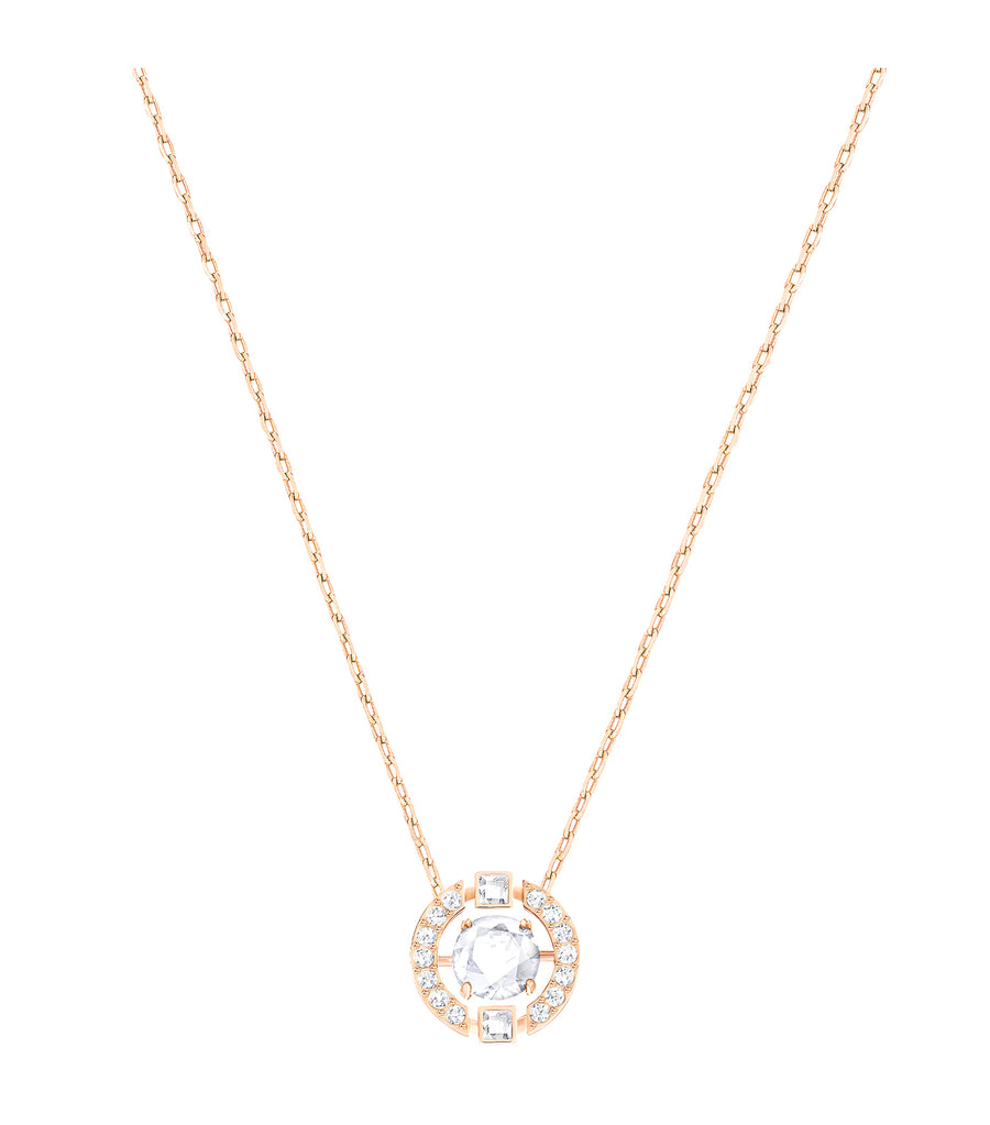 Sparkling Dance Round Necklace, White, Rose-Gold Tone Plated Pink