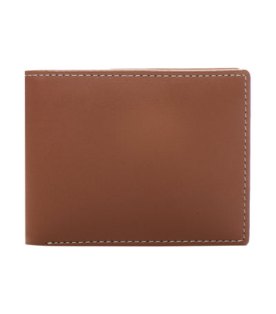 stewart/stand crossing billfold wallet stainless steel and tan leather