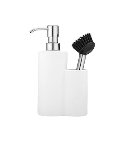 Ladelle Soft Matte Soap Dispenser and Brush Set - White