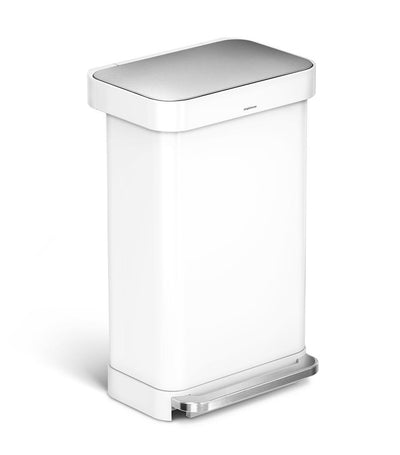 Simple Human 45L Rectangular Step Trashcan - White