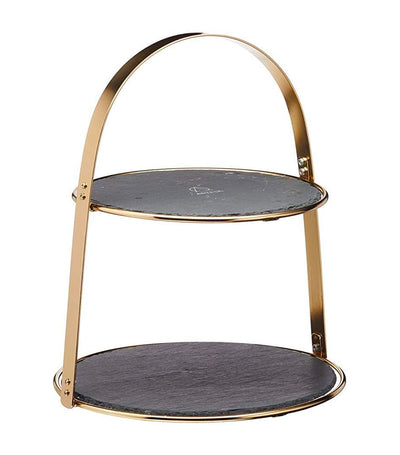 KitchenCraft by Artesà Two-Tier Brass Colored Cake Stand with Round Slate Serving Platters