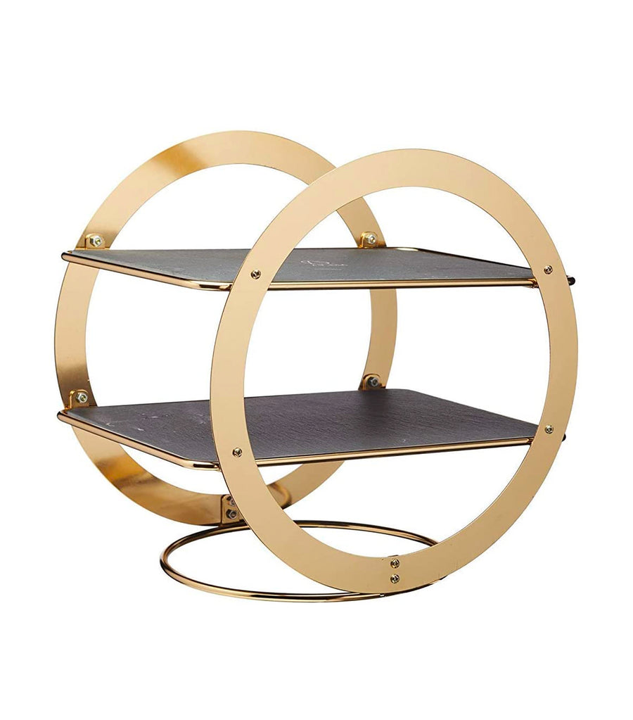 KitchenCraft by Artesà Two-Tier Geometric Brass Colored Serving Stand with Slate Serving Platters
