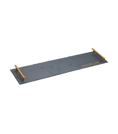 KitchenCraft by Artesà Slate Serving Tray with Twin Brass Colored Handles