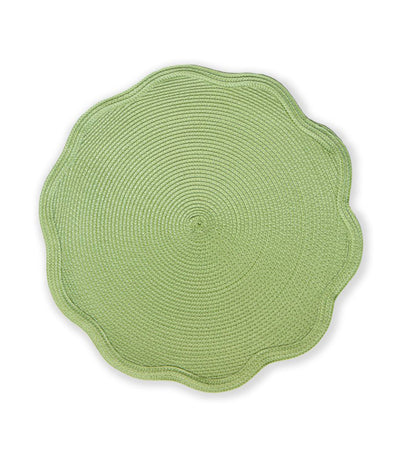 Benson Mills Scalloped Round Placemat Set of 4 - Celery