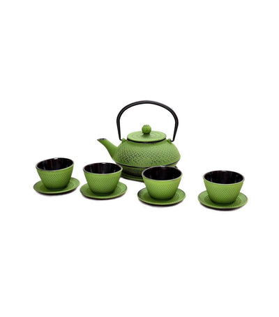 J Tea L Cast Iron Teapot Set - Green