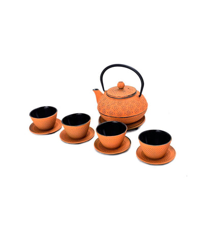 J Tea L Cast Iron Teapot Set - Orange