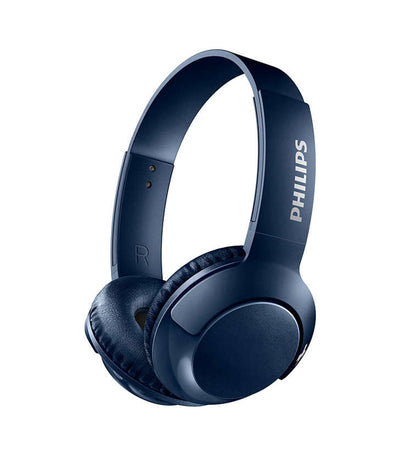 BASS+ Wireless On-Ear Headphones with Mic Blue
