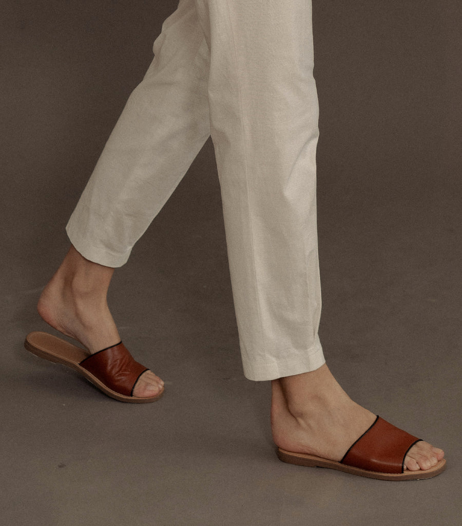 Tash Leather Slide Sandals Tan