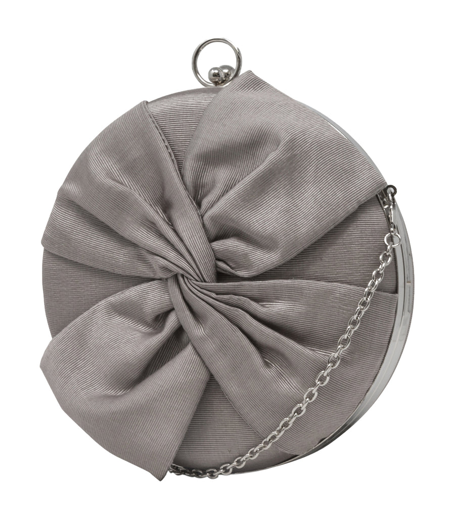 Jacqueline Circle Bow Clutch Silver
