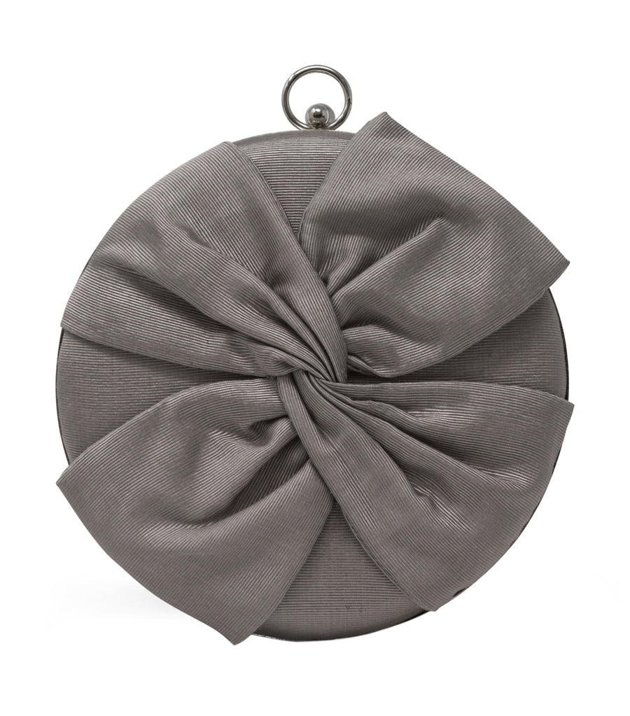 Jessica McClintock Jacqueline Circle Bow Clutch Silver