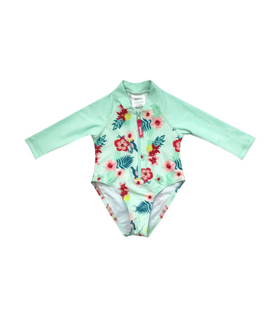 Long Sleeves UV Swimsuit - Pansy Mint Green