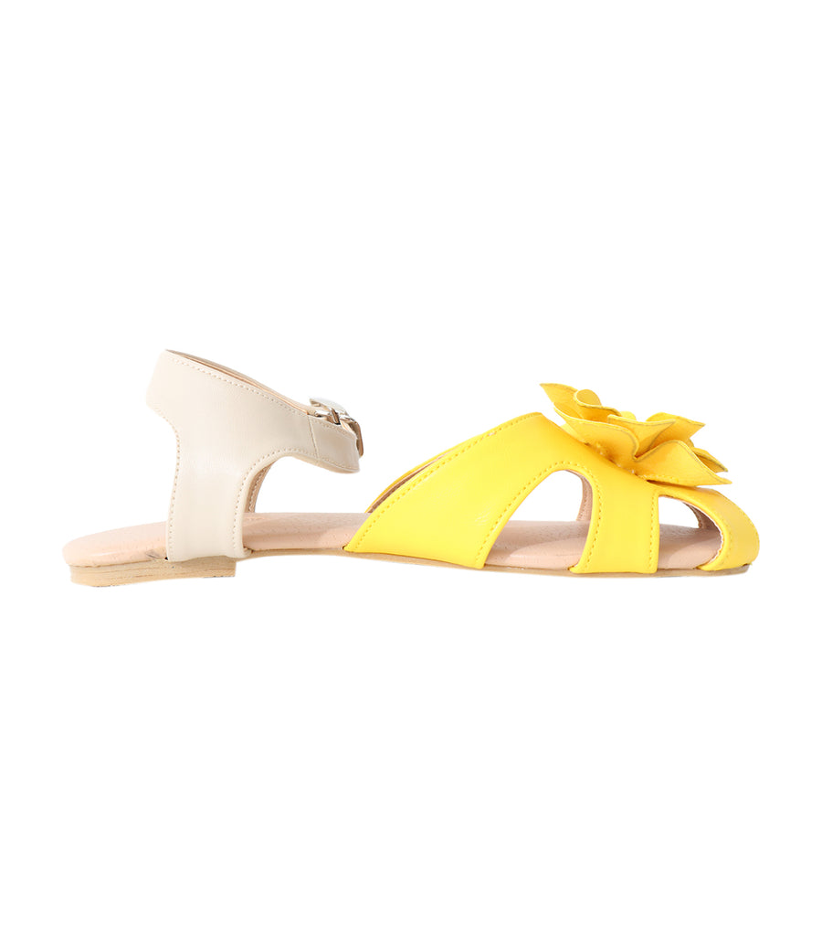 rustanette yellow sandals with flower applique