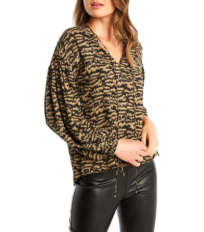 Fia Twist Back Top Brown Zebra