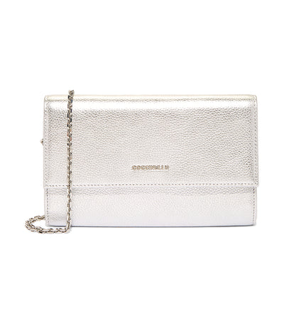 Metallic Soft Wallet on Chain Silver