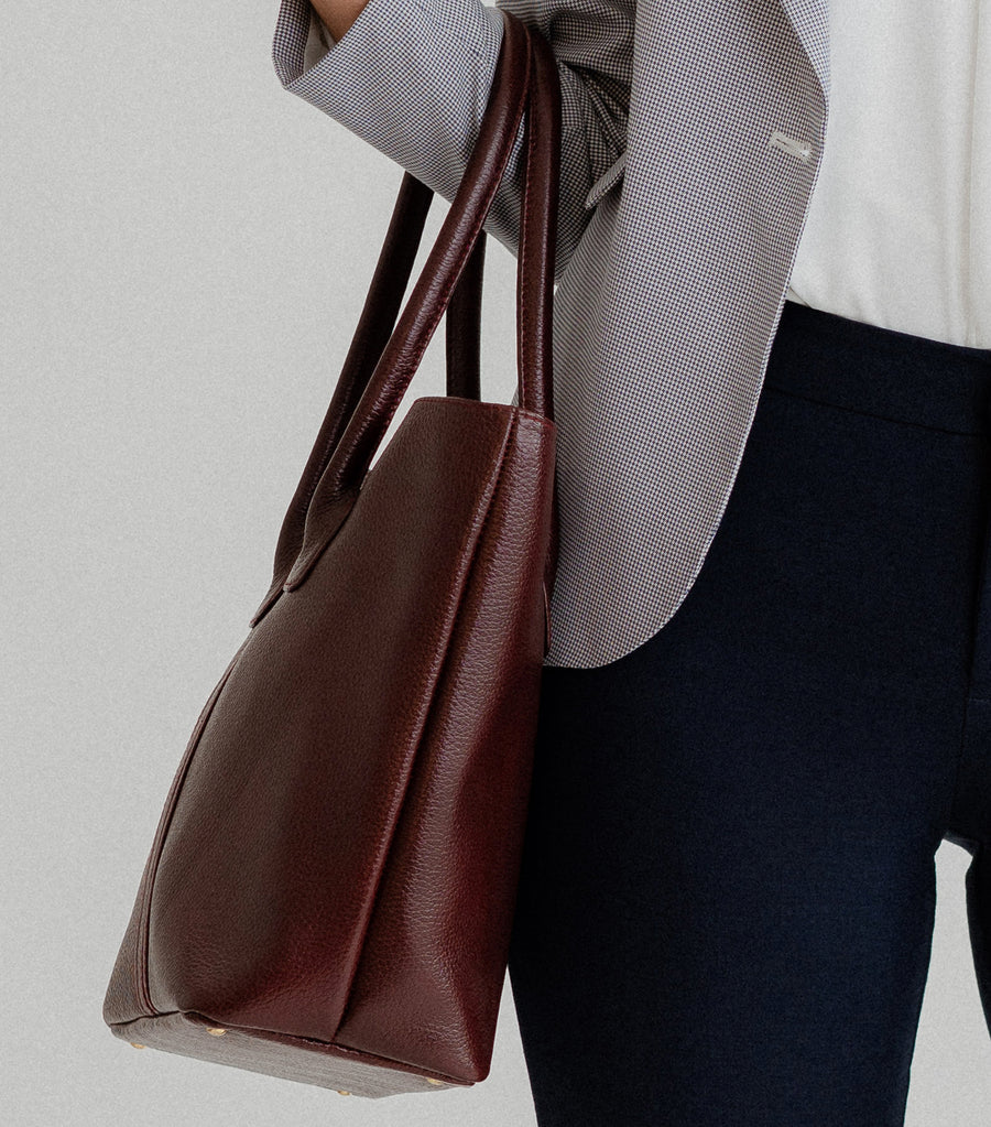 Sandra Leather Short-Handle Tote Bag Red Wine