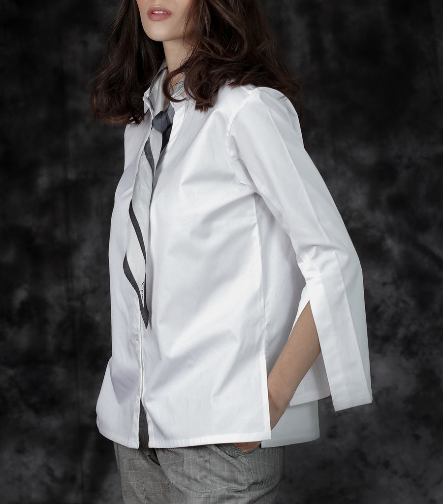 Carmen Long-Sleeved Button-Down with Split Sleeves White