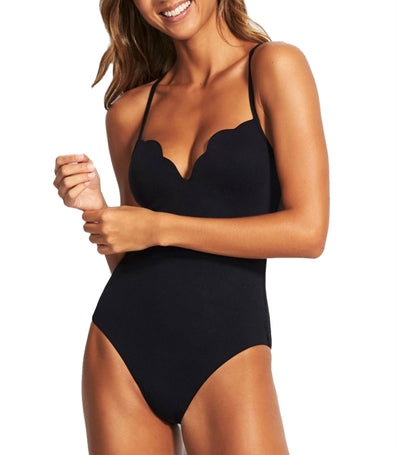 Petal Edge Sweetheart One-Piece Black