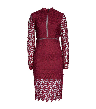 Alberta Lace Dress Burgundy