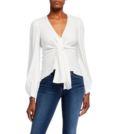 Quinnie Front Tie Puff Sleeve Top Ivory