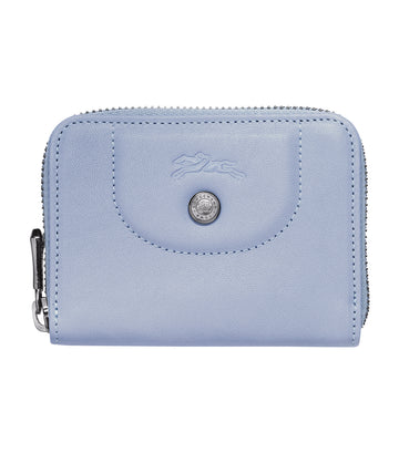 Le Pliage Cuir Zipped Card Holder Cloud Blue