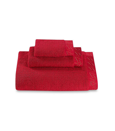 Natori Fretwork Towel - Imperial Red