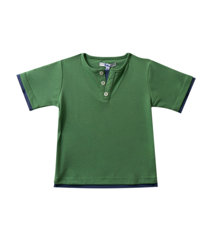 rustan jr. green noah t-shirt with buttons