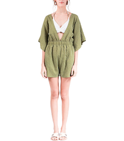 Sela Romper with Angel Sleeves Green